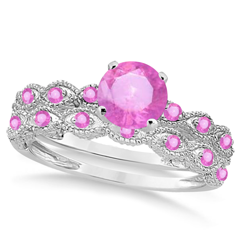 Vintage Pink Sapphire Engagement Ring Bridal Set Platinum 1.36ct