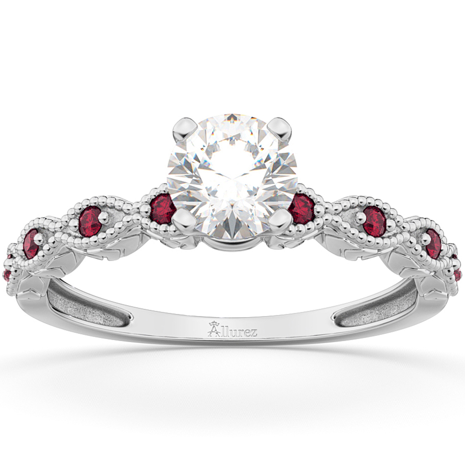 Vintage Marquise Ruby Engagement Ring 14k White Gold (0.18ct)