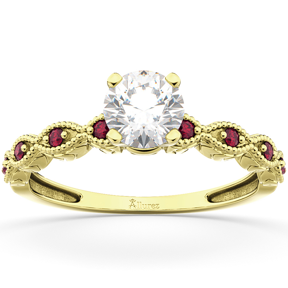 Vintage Marquise Ruby Engagement Ring 14k Yellow Gold (0.18ct)