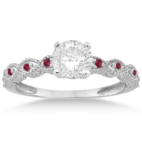Antique Pave Ruby Engagement Ring and Wedding Band Palladium (0.36ct)