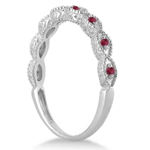 Antique Marquise Shape Ruby Wedding Ring 14k White Gold (0.18ct)