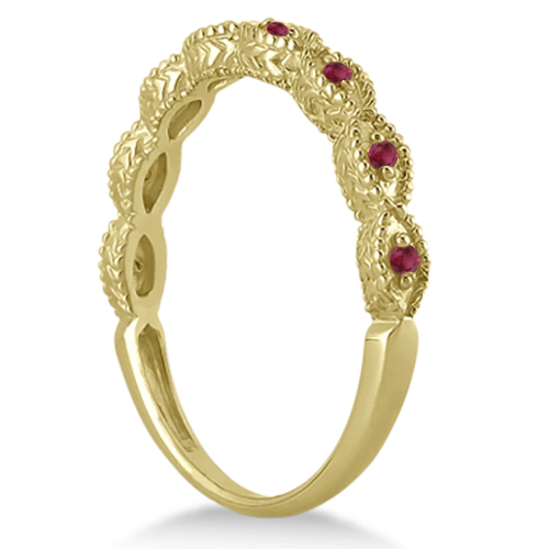 Antique Marquise Shape Ruby Wedding Ring 14k Yellow Gold (0.18ct)