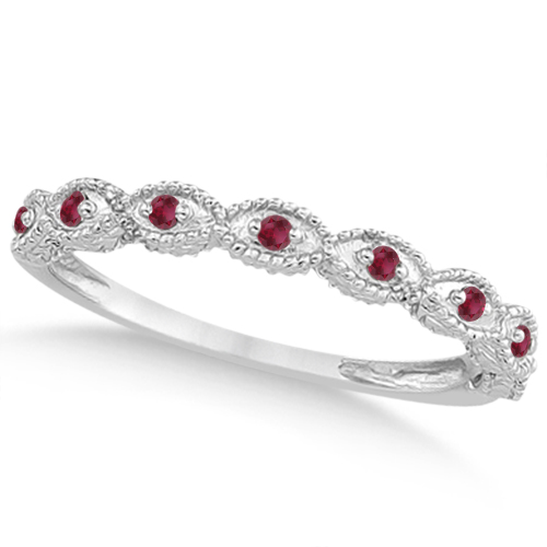 Antique Marquise Shape Pave Ruby Wedding Ring Platinum (0.18ct)