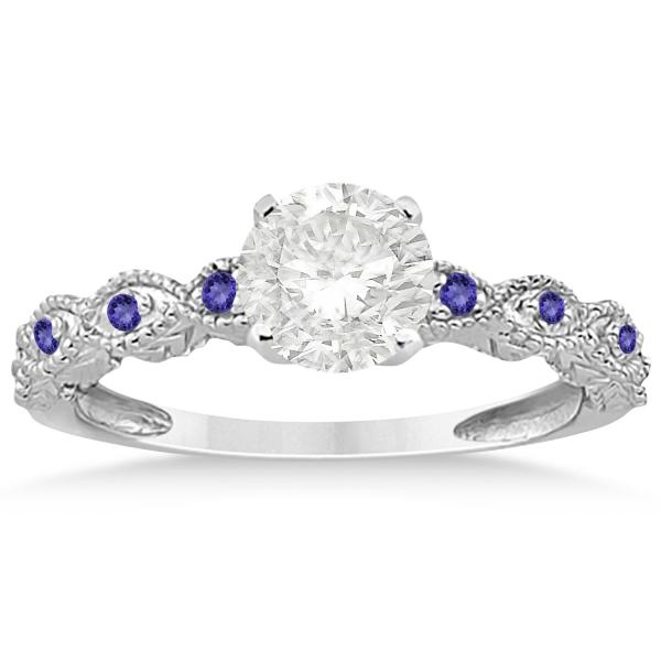 Antique Tanzanite Bridal Set Marquise Shape 18k White Gold 0.36ct