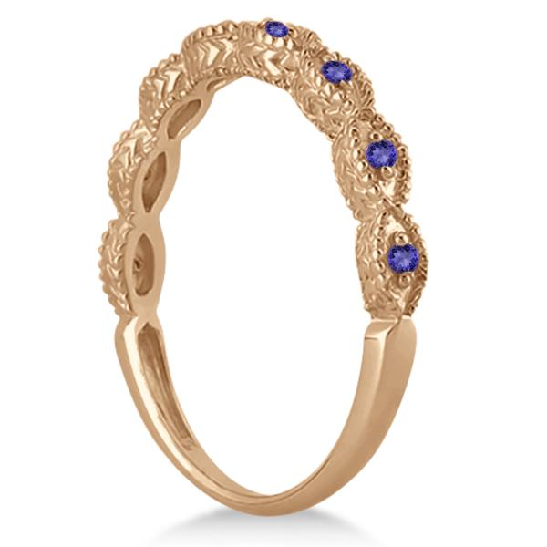 Antique Marquise Shape Tanzanite Wedding Ring 14k Rose Gold (0.18ct)