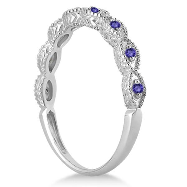 Antique Marquise Shape Tanzanite Wedding Ring 18k White Gold (0.18ct)