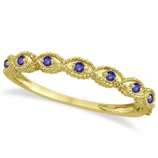 Antique Marquise Shape Tanzanite Wedding Ring 18k Yellow Gold (0.18ct)