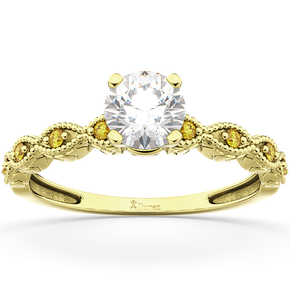 Vintage Marquise Yellow Sapphire Engagement Ring 14k Yellow Gold (0.18ct)