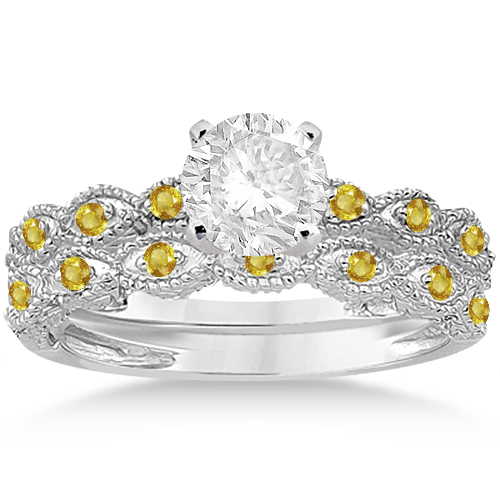 Antique Yellow Sapphire Bridal Set Marquise Shape 14K White Gold 0.36ct