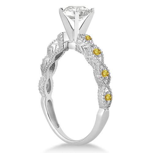 Antique Yellow Sapphire Bridal Set Marquise Shape 14K White Gold 0.36ct
