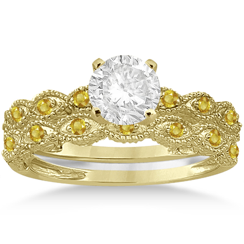 Antique Yellow Sapphire Bridal Set Marquise Shape 14K Yellow Gold 0.36ct
