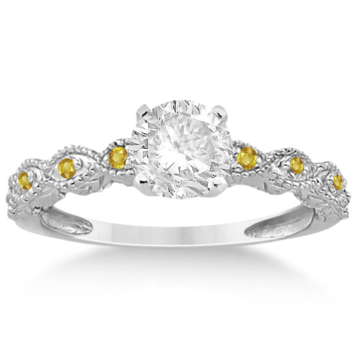 Antique Yellow Sapphire Bridal Set Marquise Shape Palladium 0.36ct