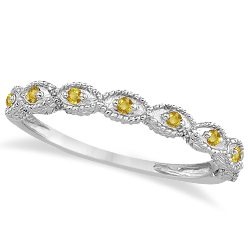 Antique Marquise Shape Yellow Sapphire Wedding Ring Platinum (0.18ct)