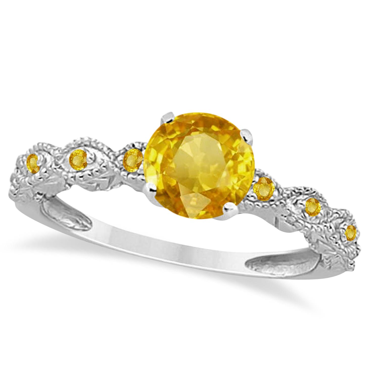 Vintage Yellow Sapphire Engagement Ring Bridal Set 14k W. Gold 1.36ct
