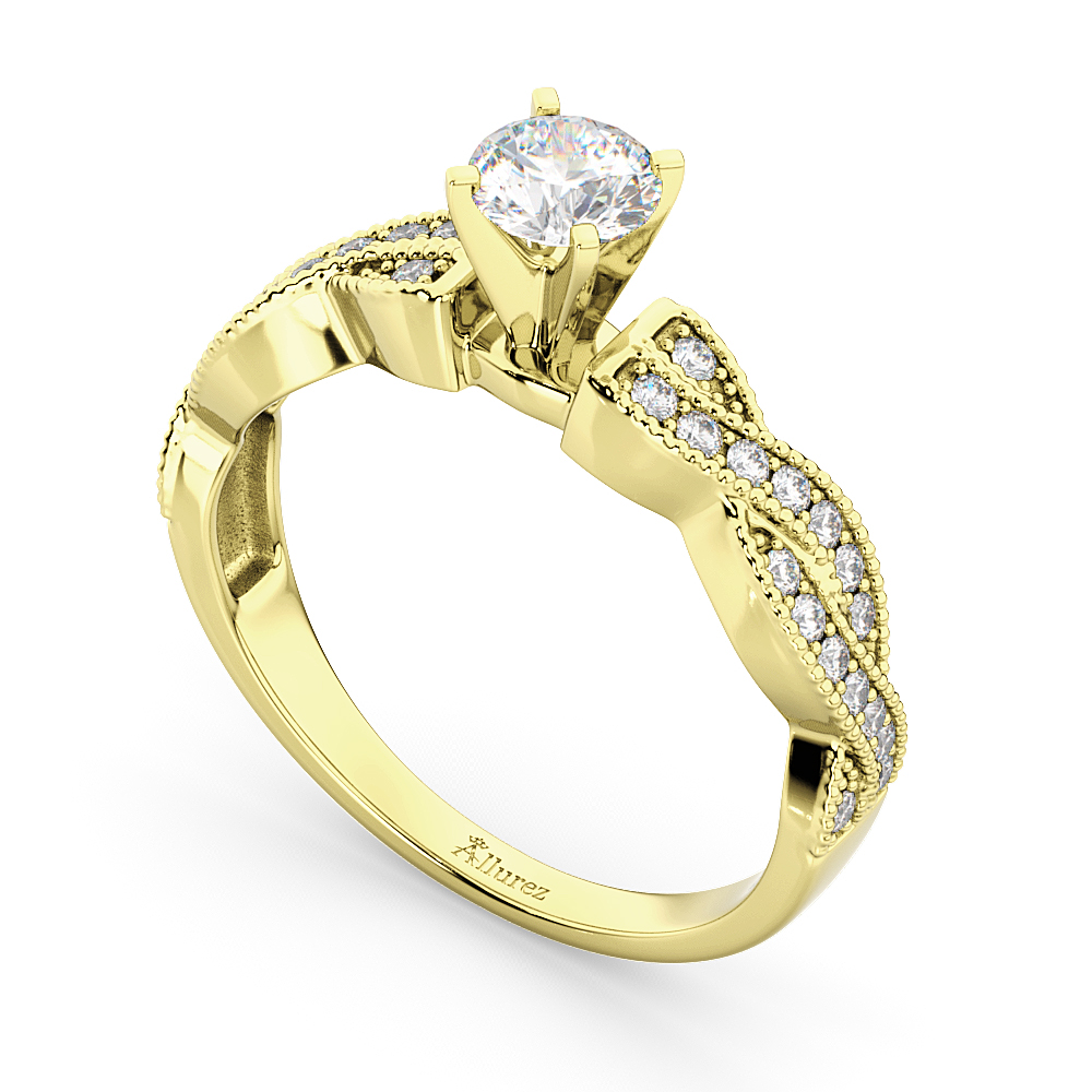 Infinity Twisted Diamond Engagement Ring 18k Yellow Gold (0.25ct)