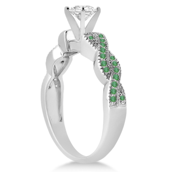 Infinity Style Twisted Emerald Engagement Ring 18k White Gold (0.25ct)