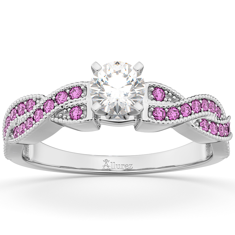 Infinity Twisted Pink Sapphire Engagement Ring 14k White Gold (0.25ct)