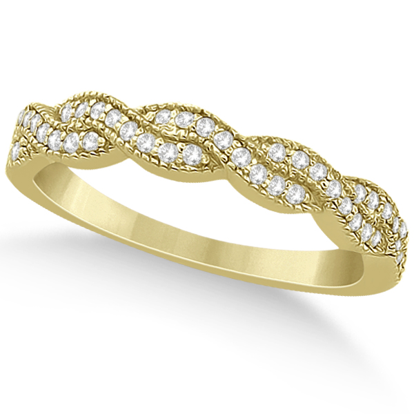 Infinity Style Bridal Set w/ Diamond Accents 14k Yellow Gold (0.55ct)