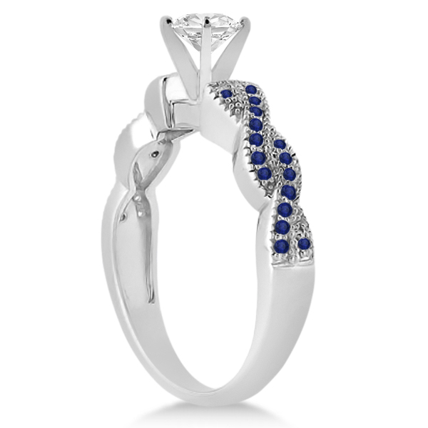 Infinity Twisted Blue Sapphire Bridal Set Setting 14k W Gold (0.55ct)