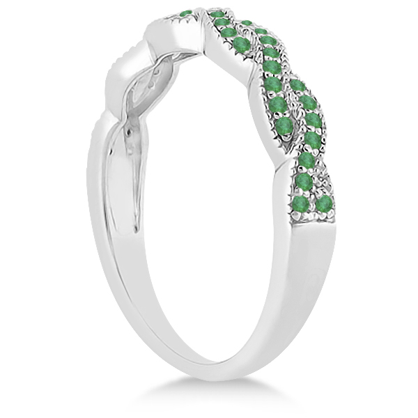 Infinity Style Twisted Emerald Bridal Set Setting 14k W Gold (0.55ct)
