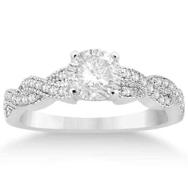 Infinity Style Bridal Set w/ Diamond Accents in Palladium (0.55cts)