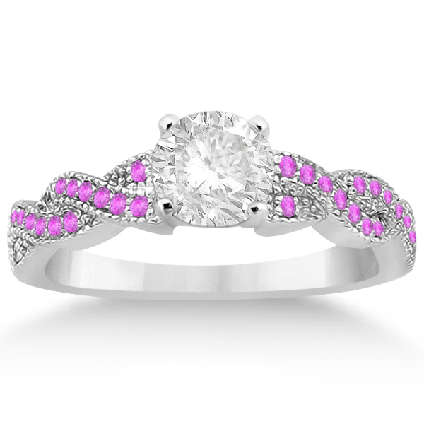 Infinity Twisted Pink Sapphire Bridal Set Setting in Palladium (0.55ct)