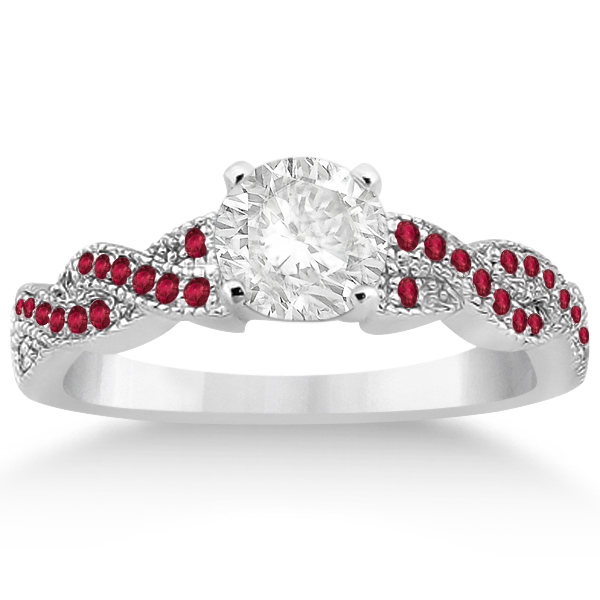 Infinity Style Twisted Ruby Bridal Set Setting 14k W Gold (0.55ct)