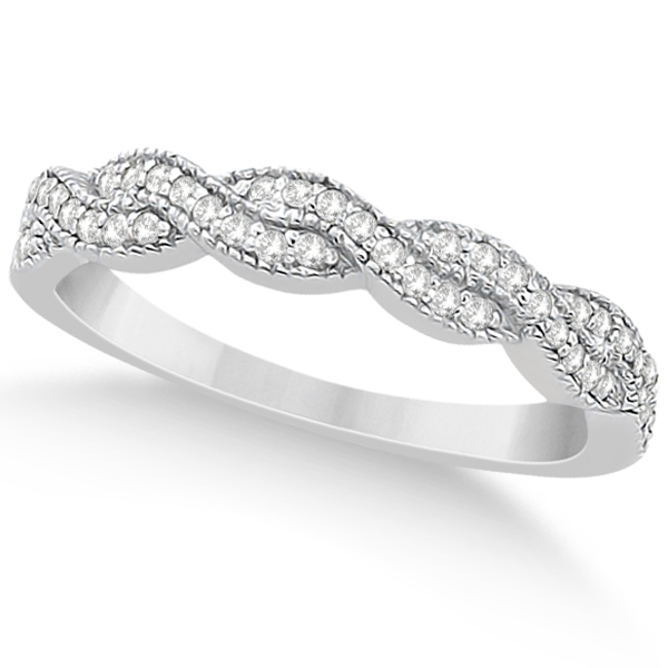 Diamond Infinity Semi Eternity Wedding Band 14k White Gold (0.30ct)