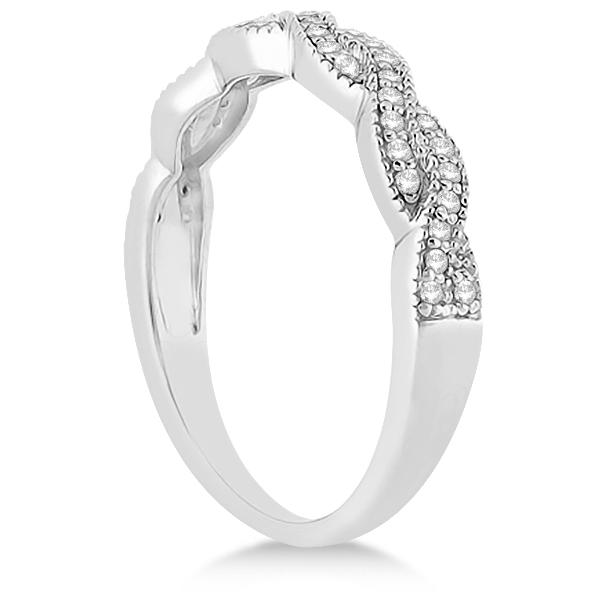 Diamond Infinity Semi Eternity Wedding Band 14k White Gold (0.30ct)