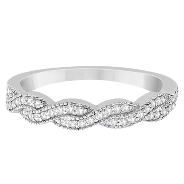 Diamond Infinity Semi Eternity Wedding Band  18k White Gold (0.30ct)