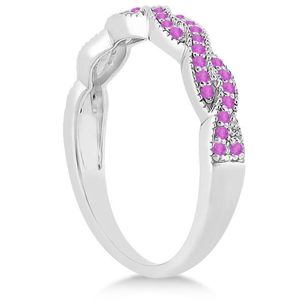Pink Sapphire Infinity Semi Eternity Wedding Band in Platinum (0.30ct)