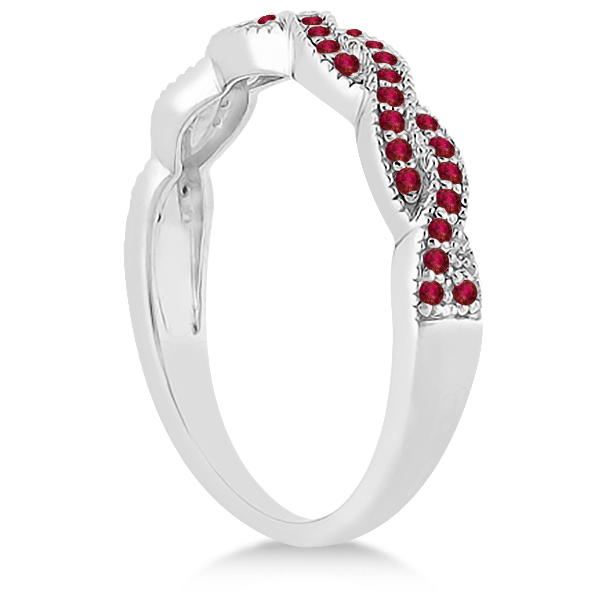 Ruby Infinity Style Semi Eternity Wedding Band 14k W Gold (0.30ct)