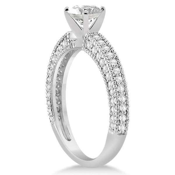 Vintage Heirloom Diamond Engagement Ring in 18k White Gold (0.60ct)