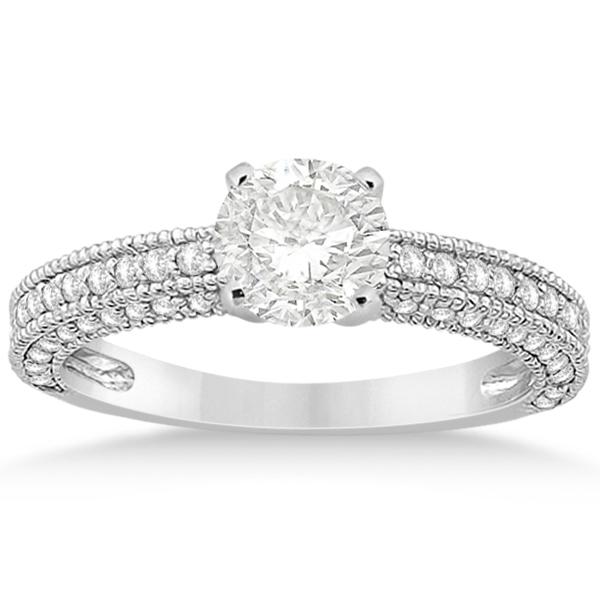 Vintage Heirloom Diamond Engagement Ring in Palladium (0.60ct)