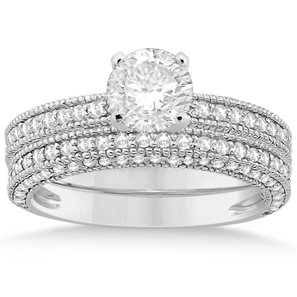 Vintage Heirloom Round-Cut Diamond Bridal Set 18k White Gold (1.32ct)