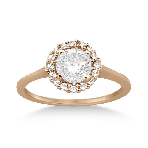 Floating Halo Diamond Engagement Ring Setting 14k Rose Gold (0.20ct)