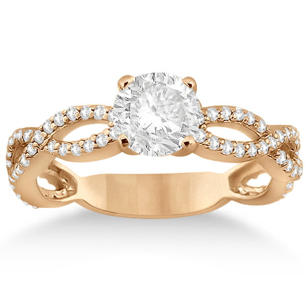 Pave Diamond Infinity Eternity Engagement Ring 14k Rose Gold (0.40ct)