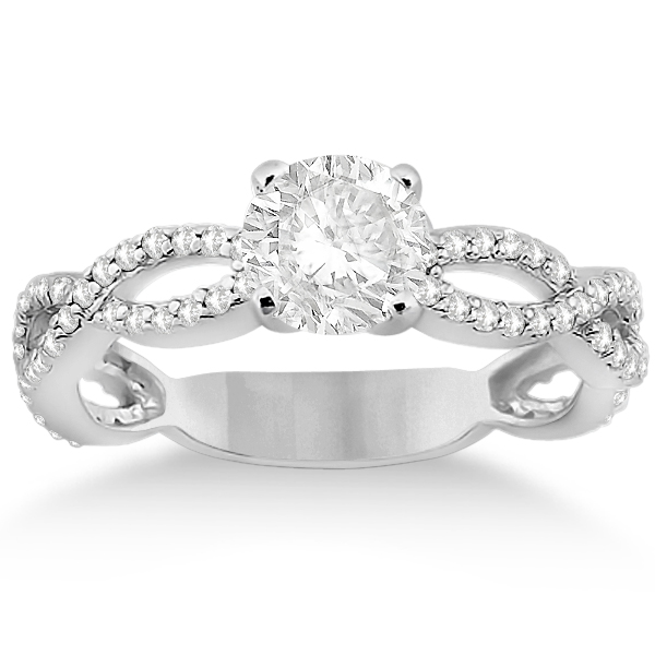 Pave Diamond Infinity Eternity Engagement Ring 14k White Gold (0.40ct)