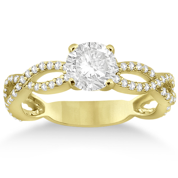 Pave Diamond Infinity Eternity Engagement Ring 18k Yellow Gold (0.40ct)
