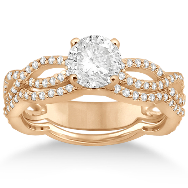 Infinity Diamond Engagement Ring with Band 18k Rose Gold (0.65ct)