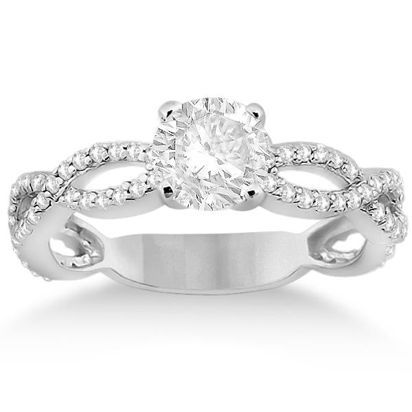 Infinity Diamond Engagement Ring with Band Palladium Setting (0.65ct)