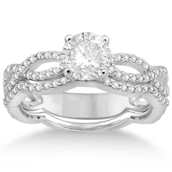 Infinity Diamond Engagement Ring with Band Platinum Setting 0 65ct
