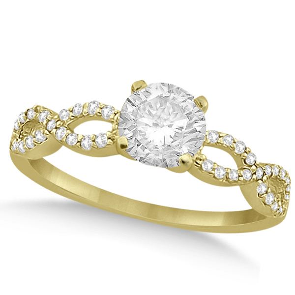 Twisted Infinity Round Diamond Engagement Ring 14k Yellow Gold (1.50ct)