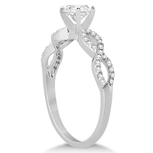 Twisted Infinity Round Diamond Engagement Ring 14k White Gold (1.00ct)