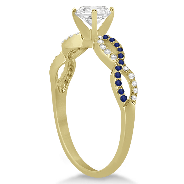 Infinity Round Diamond Blue Sapphire Engagement Ring 14k Yellow Gold 1ct