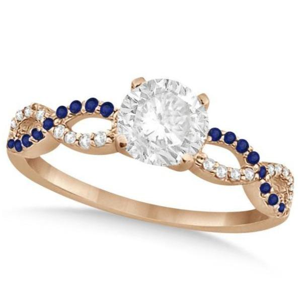 Infinity Round Diamond Blue Sapphire Engagement Ring 14k Rose Gold (1.50ct)