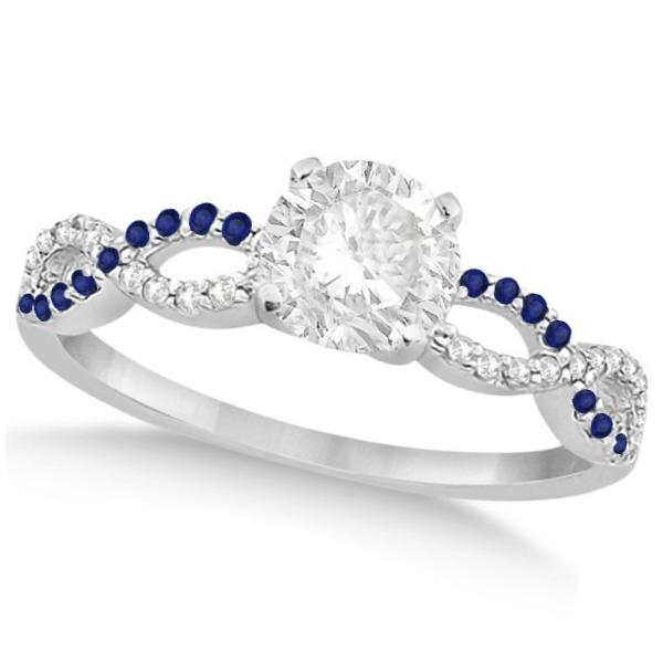 Infinity Round Diamond Blue Sapphire Engagement Ring 14k White Gold (1.50ct)