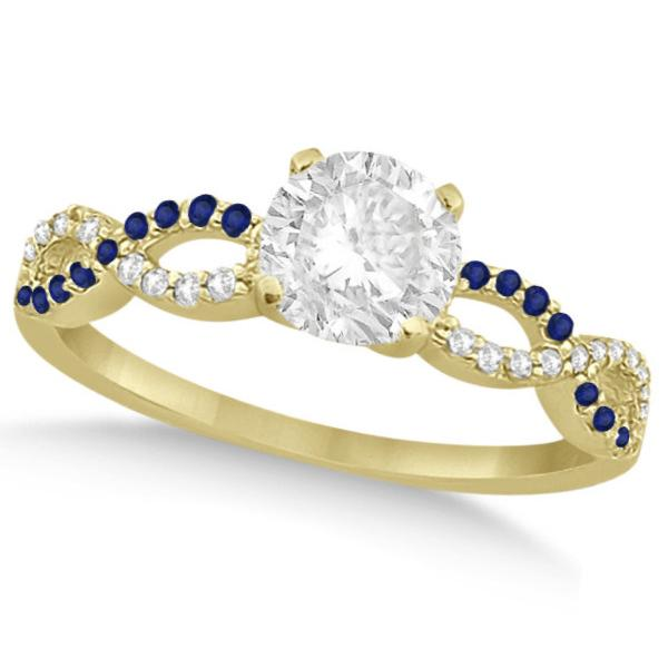 Infinity Round Diamond Blue Sapphire Engagement Ring 14k Yellow Gold (1.50ct)