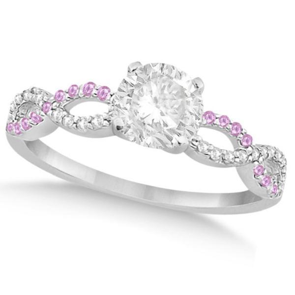 Infinity Round Diamond Pink Sapphire Engagement Ring 14k White Gold (0.50ct)