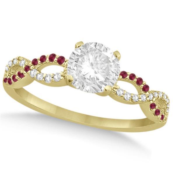 Infinity Round Diamond Ruby Engagement Ring 14k Yellow Gold (0.50ct)